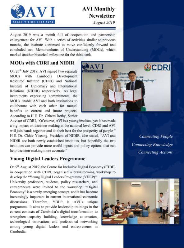 AVI Monthly Newsletter August 2019